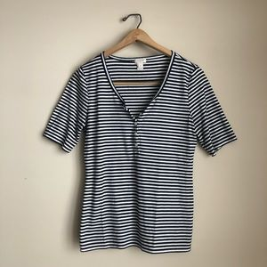 J.Crew Factory Navy and White Striped Henley Shirt